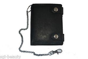 Herren Damen Portemonnaie Geldbörse Geldbeutel Leder mit Kette Neu [790-2L]