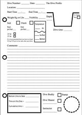 Dive log book pages (PACK OF 4)
