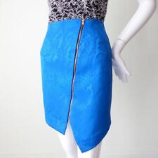 WHITE SUEDE - NEW - Skirt Size 8 US 6 EUR 36 Zip Front Blue and Black Silk Mini