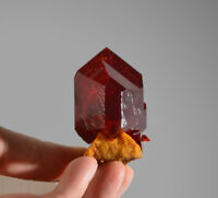 Ruby red Pruskite crystal on matrix from Poland deep red like rhodonite, realgar