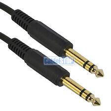 """2M 6.35mm stéréo mâle jack à jack câble 1/4"""" guitare mélangeur audio lead gold"""