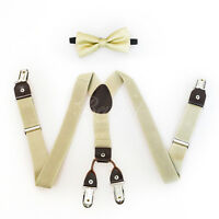 4 Clips Beige Suspender and Bow Tie Set for Baby Toddler Kids Boys Girls