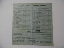 1940 Creighton Bluejays Tulsa Golden Hurricane NCAA Basketball Score Sheet Omaha