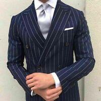 Men Navy Blue Stripes Suits Designer Wedding Casual Dinner Suit (Coat+Pant) Prom