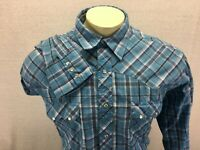 Wrangler Men's Long Sleeve Pearl Snap Western Blue Plaid Shirt 2XL XXL