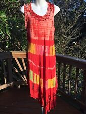 Hippie Gypsy Boho Tie Dye Circle Dress/Tunic_Red/Yellow/Green Cover Up_New