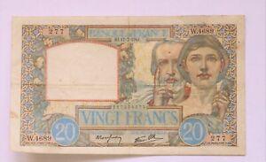 billet 20 francs Science et Travail 17-7-1941