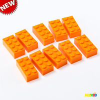 Lot of 10 Genuine LEGO Orange 2x4 3001 Building Bricks Blocks Parts & Pieces NEW