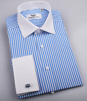 Classic Blue Striped French Cuff Formal Business Dress Shirt White Spread Collar