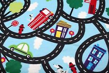 CARS ROADWAY TRUCKS BUS DOGS FLANNEL FABRIC 100% COTTON SEWING QUILTING SOLD BTY