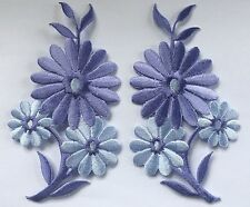 FLOWER PATCH X 2; Lilac/Purple matching pair; SEW-ON/IRON-ON *embroidered* Daisy
