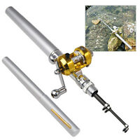 Mini Silver Pocket Fishing Rod Pole & Golden Reel Pen Shape 93cm Travel Small