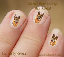 Shortcoat German Shepherd Dog, GSD, Alsatian, set of 24 Nail Art Stickers Decals