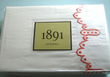 Sferra 1891 FROU FROU King Sheet Set White/Coral Embroidery Cotton Sateen New