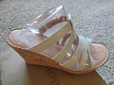 NEW BORN LISI CREAM/IVORYLEATHER SANDALS WOMENS 11 CORK WEDGE HEELS FREE SHIP
