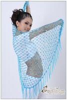 Crochet Sequence & Fringe Belly Dance Scarf Shawl Veil Belt