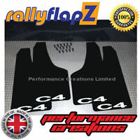 Rally Style Mud flaps to fit CITROEN C4 Coupe Mudflaps Black C4 White 3mm PVC