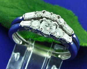 1.08 ct 14k Solid White Gold Ladies Natural Diamond Ring Wedding  Engagement Set