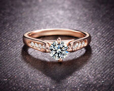 Rose Gold Excellent Solitaire with Accents Engagement Fine Diamond Rings
