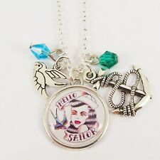 SAILOR TATTOO GIRL CHARM NECKLACE rockabilly nautical swallow anchor vintage