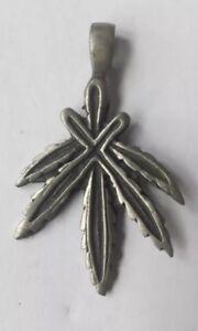 Metal Cannabis leaf pendant/ BIKER/ GOTH/ Stoner/ Hippy