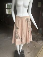 Tracy Reese pale pink linen skirt with beading
