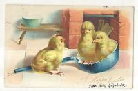 """A Happy Easter"" Cute Baby Chicks in Spoon Vintage UDB Easter Postcard"