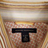Banana Republic Men's Button Up Shirt Size Medium Cotton Striped Orange White