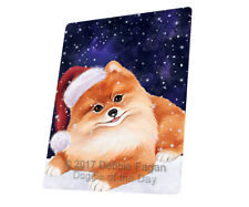 Let it Snow Christmas Pomeranian Dog Tempered Cutting Board Large Db13