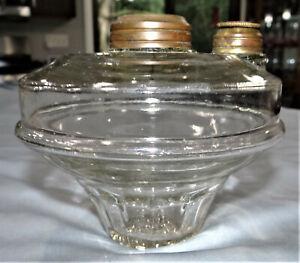 Antique Tapered Glass Font Kerosene Fits Cast Iron Wall Bracket Oil Lamp Parts