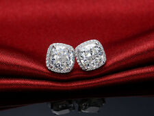 2CT/Piece Halo Style Pure 14K White Gold Excellent Cushion Diamond Earrings Stud