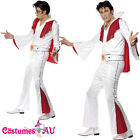 Mens Elvis Presley Red White Flare Licensed Costume Rock and Roll 50s 1950s Star