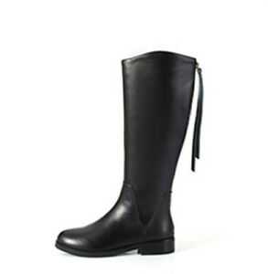 Woman's Shoes High Boots Leather Knee-high Black Fall Winter All-math Fashion D