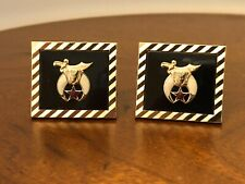 Vintage Swank Masonic Shriner's Emblem Black Onyx Gold Tone Cufflinks