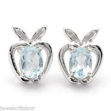 925 Sterling Silver Blue Topaz Oval Gemstone Apple Style Stud Earrings 235BT AU
