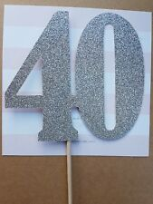 40 Silver Card Cake Topper, 40th birthday, forty