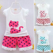 Girls Baby Kids Summer Vest T-Shirt Tank Top Polka Dot Shorts Pants Outfits Sets