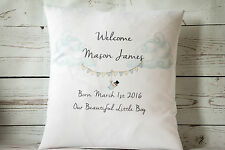 """Personalised Welcome Baby Boy - 16"""" Cubierta Cojín Blanco Shabby Chic Vivero"""