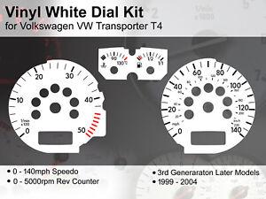 VW Transporter T4 (1999 - 2004) Later Models - 140mph - Vinyl White Dial Kit