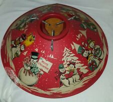 VINTAGE ANTIQUE CHRISTMAS TREE STAND WITH SNOW MAN SCENERY WITH WATERING HOLE