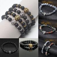 Fashion Mens Black Lava Stone Gold&Silver Lion Beaded Cuff Charm Bangle Bracelet