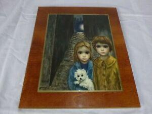 "Vtg Margaret Keane Big Eye Girl Print ""Lost"" Mounted On Board 11x13"