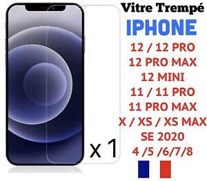 Vitre protection film écran verre trempé iPhone 8 7 6 Plus XR XS 11 PRO MAX 12
