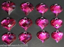 12 Valentine Pink Heart Charms Jewelry Bracelet Earrings Making H4 ~Quick Ship