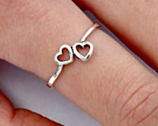 .925 Sterling Silver Ring Midi Heart Kids Ladies size 2-11 Knuckle Thumb New