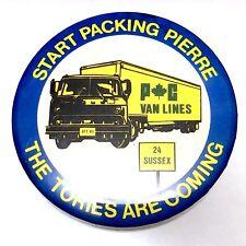 1983 Start Packing Pierre Trudeau Tories Canadian Pinback Political Button H289