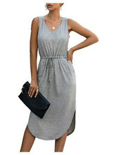 UK Women Sleeveless Midi Dress Sundress Summer Solid Comfy Shirt Dress Size 6-20
