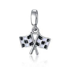 Flag Black White Enamel Dangle Bead Fit 925 Silver Charms Bracelet