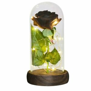 Gold Foil Galaxy Rose Flower LED Light Artificial Flowers In Glass Dome Gift