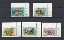 TIMBRE STAMP 5 ILE BARBUDA Y&T#407-11 POISSON FLEUR NEUF**/MNH-MINT 1978 ~A71